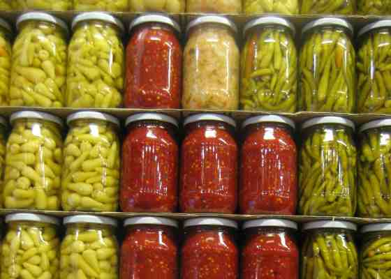 Jars of pickled peppers
