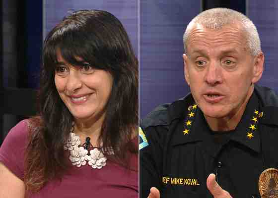 "Madison Alder Shiva Bidar-Sielaff (left) and Police Chief Mike Koval (right) speak about police oversight on Wisconsin Public Television's ""Here And Now."""